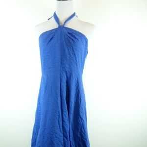 J CREW blue backless halter cotton dress 14